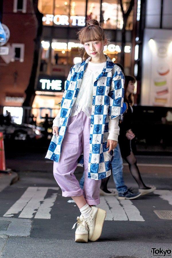Harajuku Girl w/ Cartoon Print Coat, Funktique Top & Tokyo Bopper Platforms