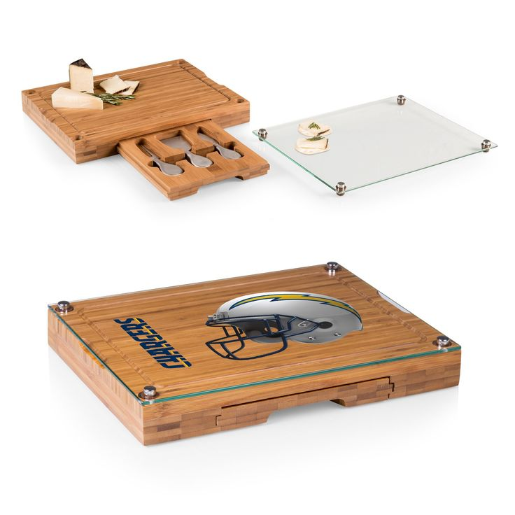 NFL Los Angeles Chargers Picnic Time Concerto Bamboo Cutting Board/Serving Tray and Cheese Tools Set - Brown
