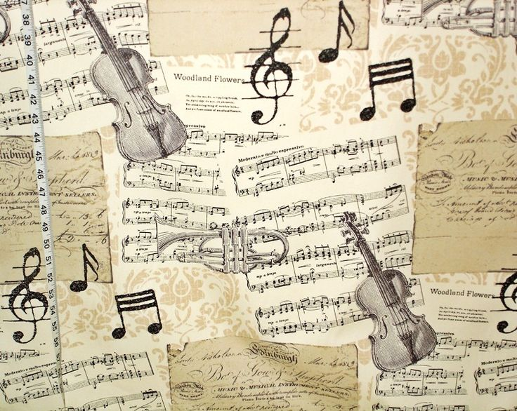 Music toile fabric document print damask Double wide from Brick House Fabric: Novelty Fabric