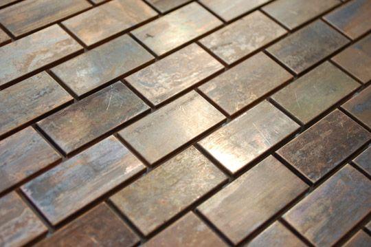 Antiqued copper metallic tile