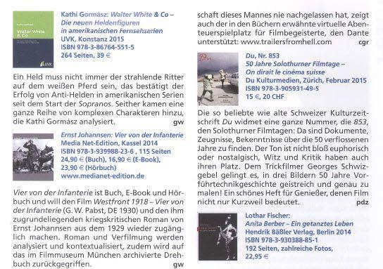"""Wir machen weiter mobil, bei Arbeit, Sport und Spiel ... und auch die Zeitschrift """"Film & TV Kameramann"""" stellt nun unser Buch/E-Book und Hörbuch """"Vier von der Infanterie"""" vor, in Nr. 5/2015!"""