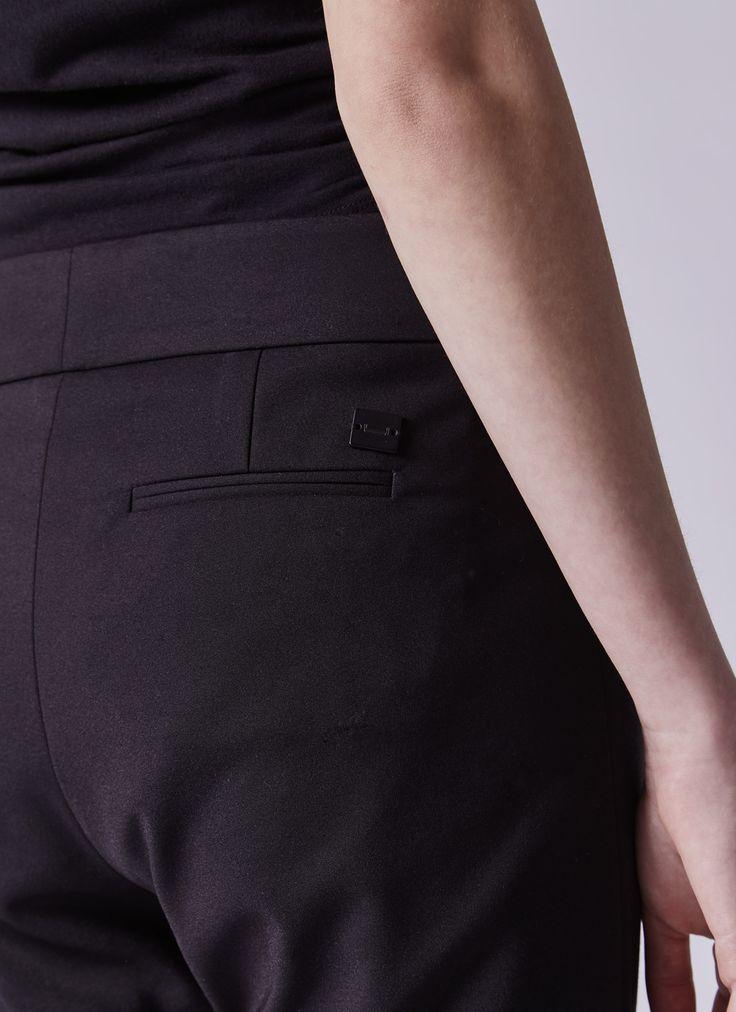 Pantalón recto de algodón elástico - Pantalones | Adolfo Dominguez shop online