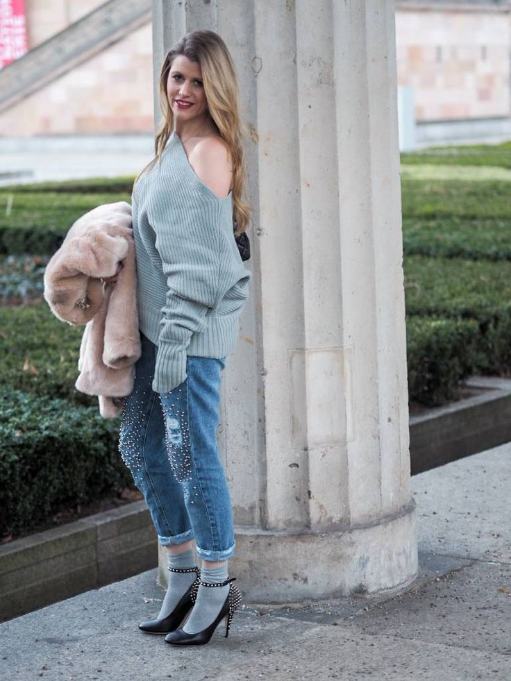 Outfit: Last look from Berlin: Boyfriendjeans, Knit, Heels