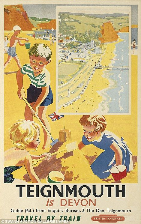 Vintage railway posters of UK seaside destinations -Teignmouth, Devon