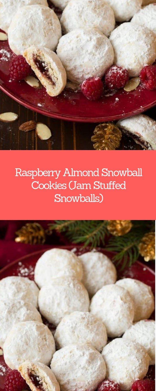 Raspberry Almond Snowball Cookies Jam Stuffed Snowballs Christmas