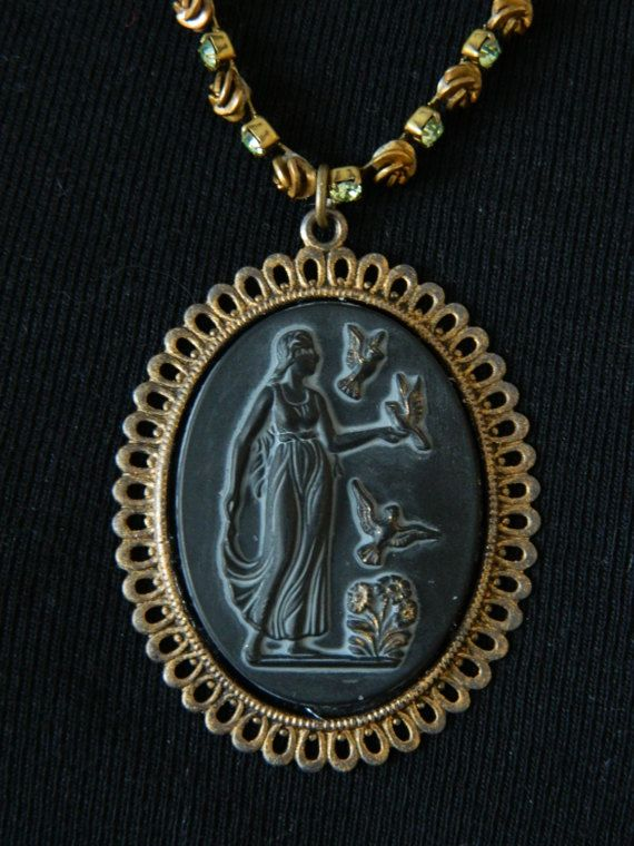 Assemblage Necklace Black Glass Greek Goddess on by 58Diamond
