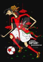 wayang kulit poster - in Indonesian national colours - football - soccer - sepak bola