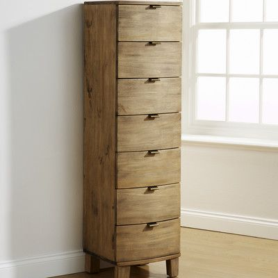 Mountrose Olivia Bow Curved 7 Drawer Tallboy Chest | Wayfair UK 147x40x40 £286.99