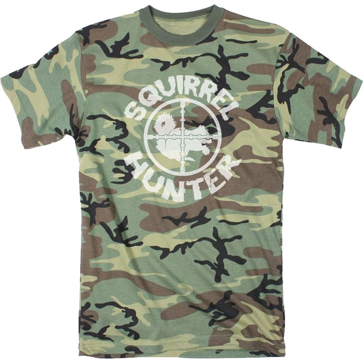 Mens Squirrel Hunter Funny Animal Hunting Camouflage T shirt