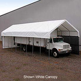 """Daddy Long Legs Canopy 12'W X 50'L Green . $2572.00. Daddy Long Legs Canopy 12'W x 50'L Green Heavy Duty 14 gauge, 1.66"""" OD Allied Gatorshield structural steel frame. Rafter spacing 5'. Sidewall height 10'. 12.5 oz, 24 mil premium green poly cover comes with a 15 year warranty. Optional side panels and gable ends are available. Quick and easy installation means relocating your canopy is never a problem. 50.00 L. 13.50 W. 12.00 H."""