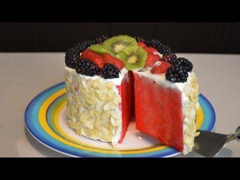 Pastel de frutas FÁCIL, SIN HORNO (sandía) | Recetas de cocina fáciles | Recetas de postres facil - YouTube