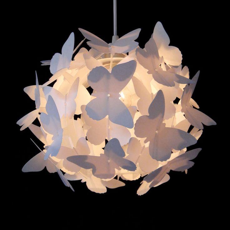 Girls Pretty White Butterfly Ceiling Pendant Light Lamp Shade Chandelier Lights