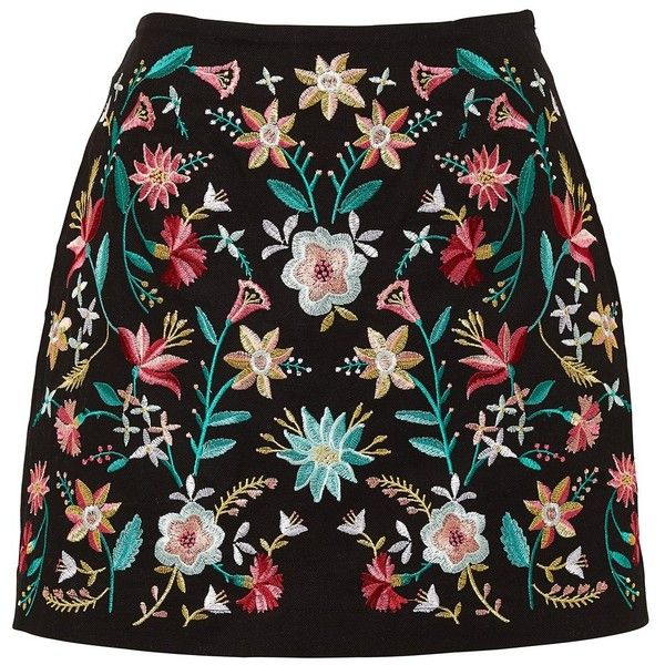 EMBROIDERED MINI SKIRT (1,305 DOP) ❤ liked on Polyvore featuring skirts, mini skirts, ruched skirt, embroidered skirt, short skirts, shirred skirts and gathered skirts