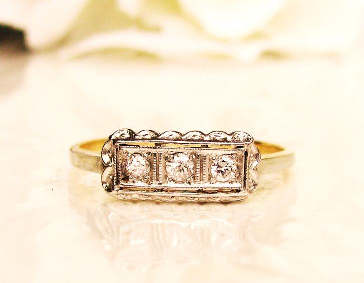 Antique Diamond Wedding Ring 14K Two Tone Gold Scalloped Edge Art Deco Wedding Band Petite Diamond Ladies Wedding Ring Size 7! by LadyRoseVintageJewel on Etsy