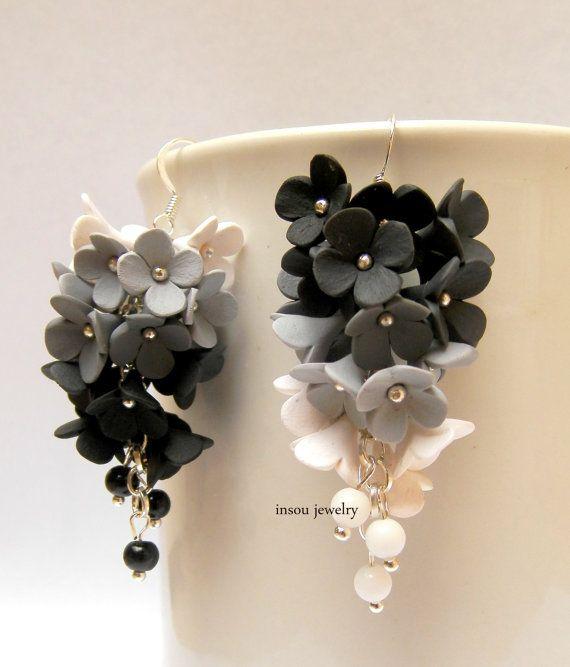Black white - Flower earrings - Ombre jewelry - Dangle earrings - Lilacs - Handmade polymer earrings - MADE TO ORDER