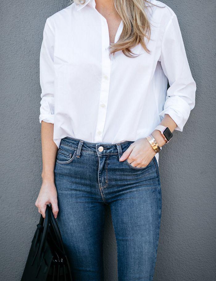 видом белая рубашка и джинсы картинки если