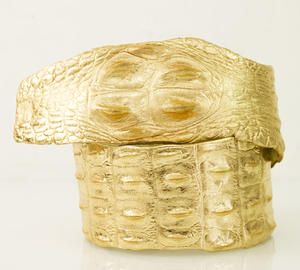 Roberto Cavalli Gold Patchwork crocodile wrap waist runway belt sz 42 authentic