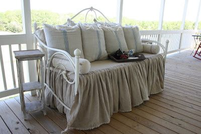 Dreamy Daybed Redo with Feedsacks and Linen - Cedar Hill Farmhouse