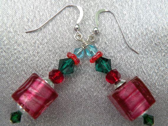 Murano Glass Rubino Platino Pink Cubes Venetian Bead