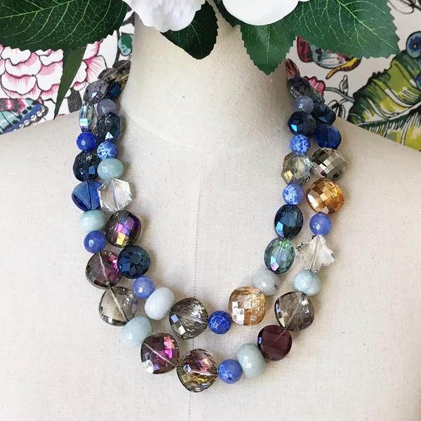 A one off beauty of super sparkling faceted glass and large aventurine and blue agate beads. The clasp is antique silver, and is nickel/lead and cadmium free. A