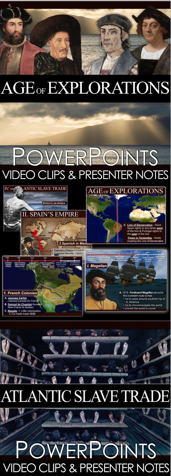 Age of Explorations and Colonization PowerPoint with Video Clips and Presenter Notes covers the period from the early 15th century and continuing into the early 17th century, during which European ships were traveled around the world to search for new trading routes with the East. Age of Explorations PowerPoint is packed with maps, primary source documents, stunning visuals, and embedded video links, everything you need to keep your students engaged.