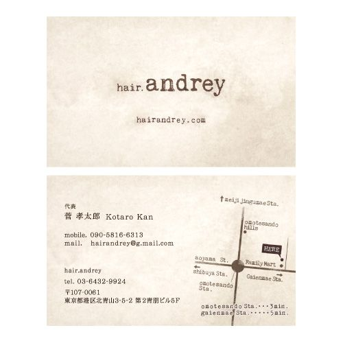 hair.andrey_Name Card | Beauty salon graphic design ideas | Follow us on https://www.facebook.com/TracksGroup | 美容室 デザイン カード 名刺
