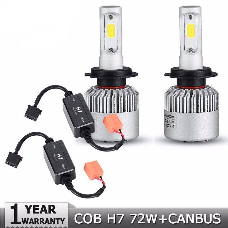 2pcs H7 COB 72W LED Car Headlight Bulbs 8000lm 6500K Auto