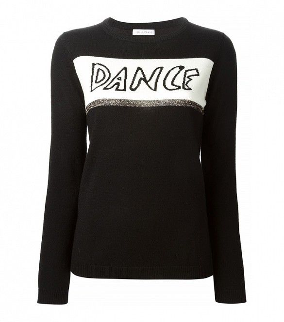 Bella Freud Dance Sweater // Black sweater with text