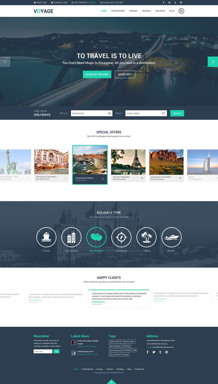 Free Travel Website Template PSD
