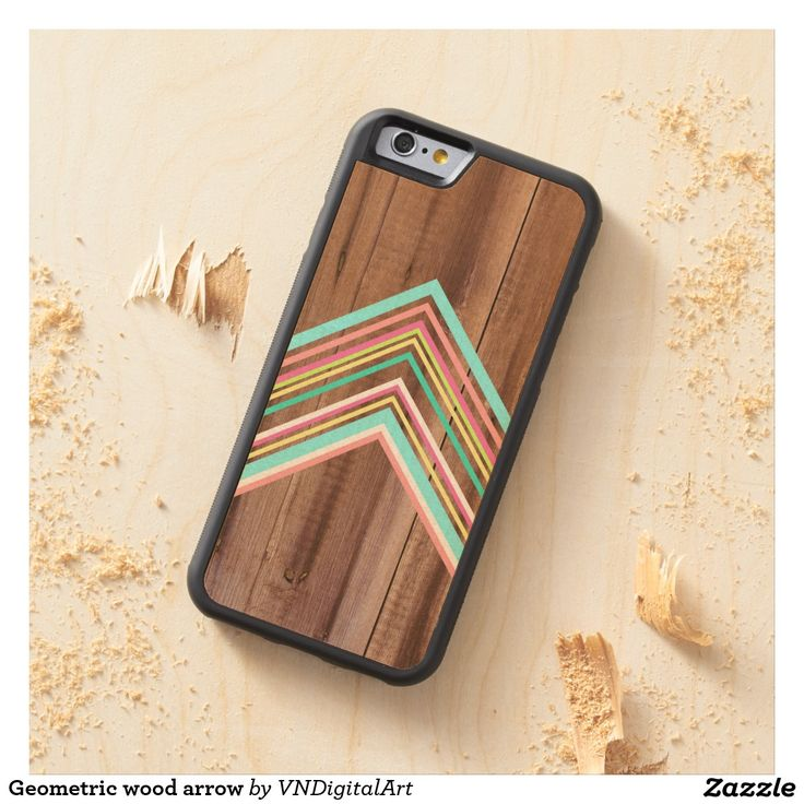 Geometric wood arrow carved® maple iPhone 6 bumper case