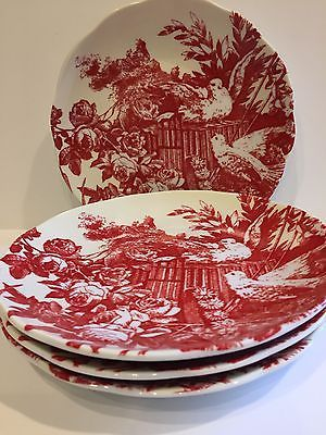 Rosanna Set Four Red Toile Dove Love Birds Roses Wedding Appetizer Plates