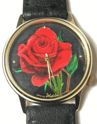 Red Rose Handpainted Watch by Malibu