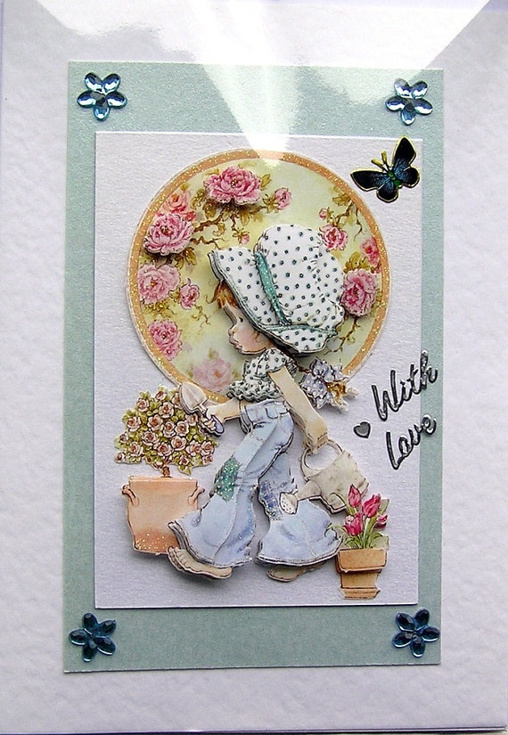 Happy Gardener HandCrafted 3D Decoupage Card  by SunnyCrystals, £1.85