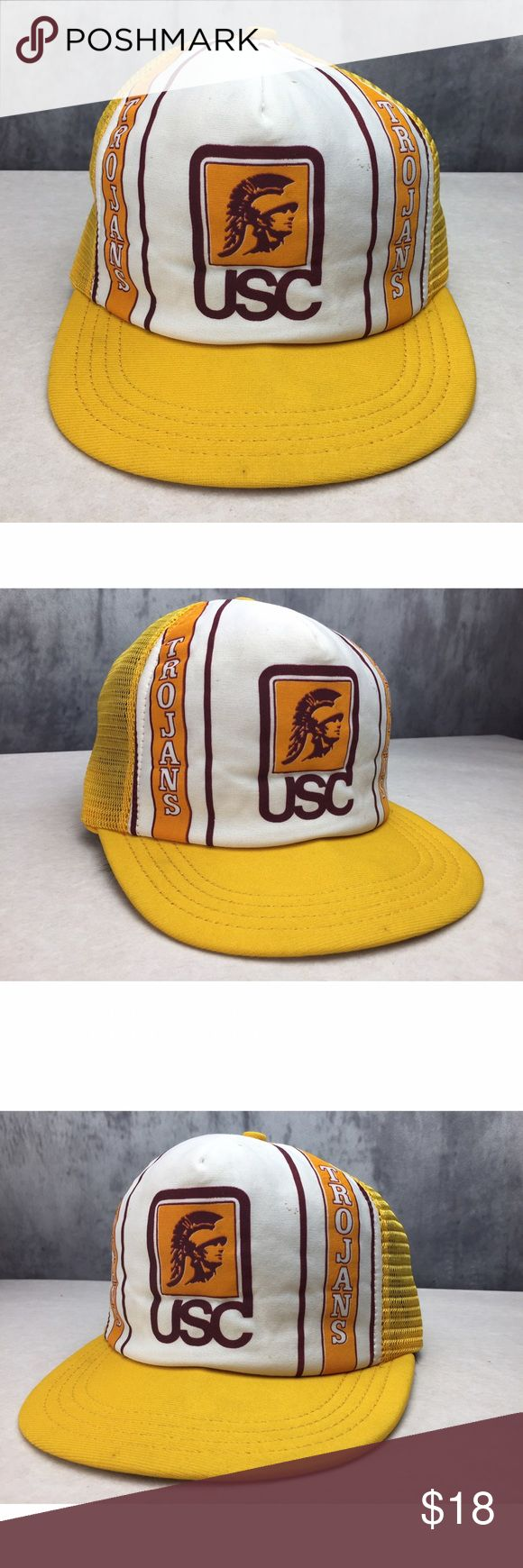 TRUE VINTAGE USC TROJANS DEAD STOCK ADJUSTABLE HAT TRUE VINTAGE USC TROJANS DEAD STOCK ADJUSTABLE HAT!! Amazing UNIVERSITY OF SOUTHERN CALIFORNIA true vintage find! Inside of hat looks like it has never even been worn! Top of hat does have some stains as seen in picture. MADE IN USA! Vintage Accessories Hats