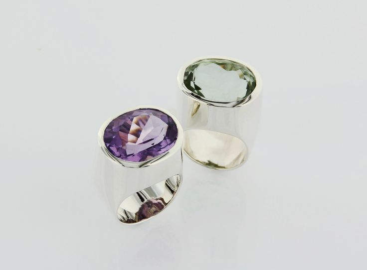 fountain rings, handcrafted rings with prasiolite and amethyst, polished silver