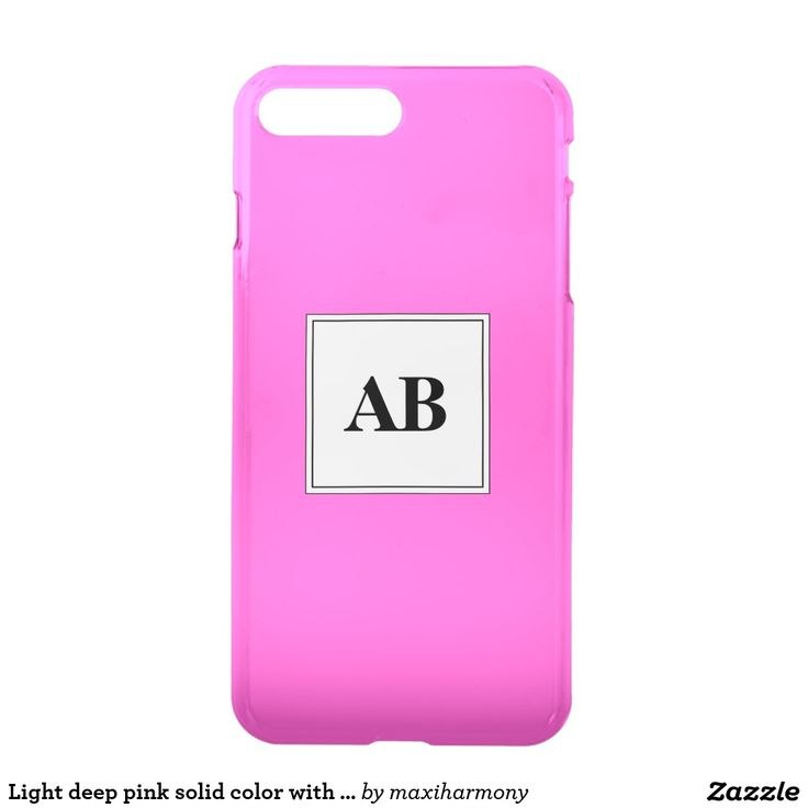 Light deep pink solid color with monogram iPhone 7 plus case