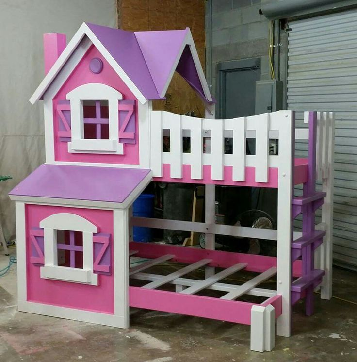 Adorable Full Kids Bedroom Set For Girl Playful Room Huz: Girl Pink Purple Painted Dollhouse Bunkbed