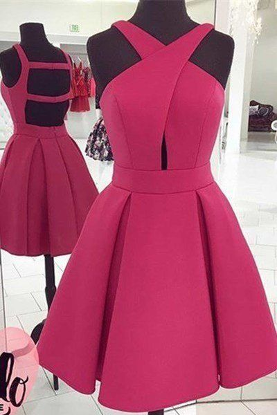 Rosy A-line short Homecoming dresses,unique openback short casual dress