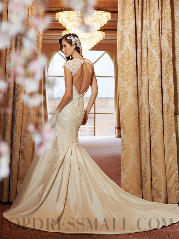 Trumpet Mermaid Chapel Train V-Neck Backless Wedding Dress 2014