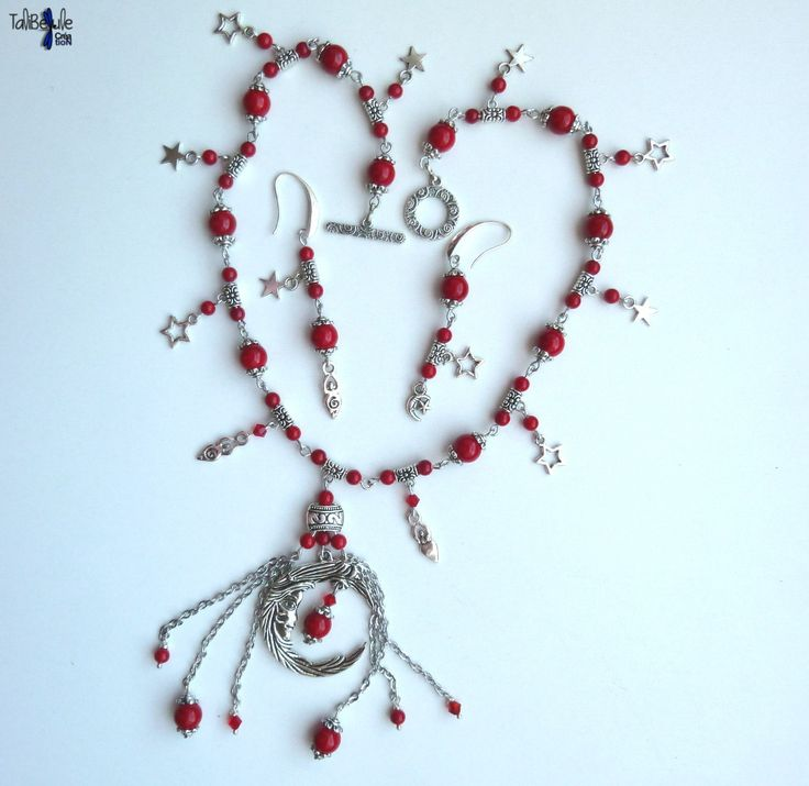 Lune Rouge - Parure collier et boucles d'oreille en jade mashan rouge et argent du Tibet - Jade ornaments in honor of the last lunar eclipse called Blood Moon by TaliBellule