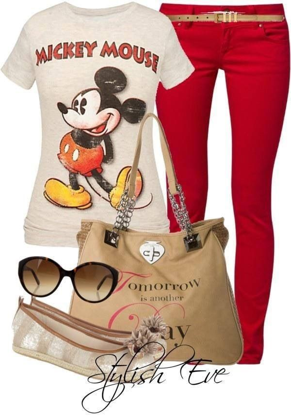 I have a mickey shirt in red and black and I can wear it with my black jeans and my new black and white tote