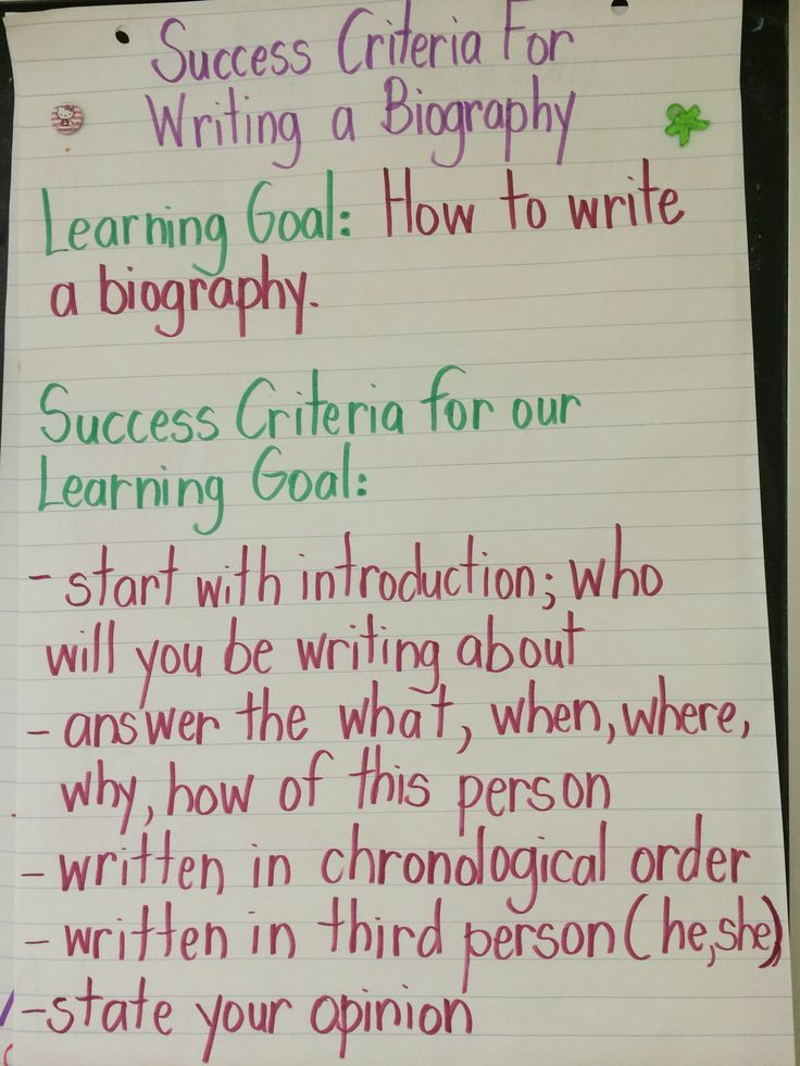 success criteria for writing a biography  co