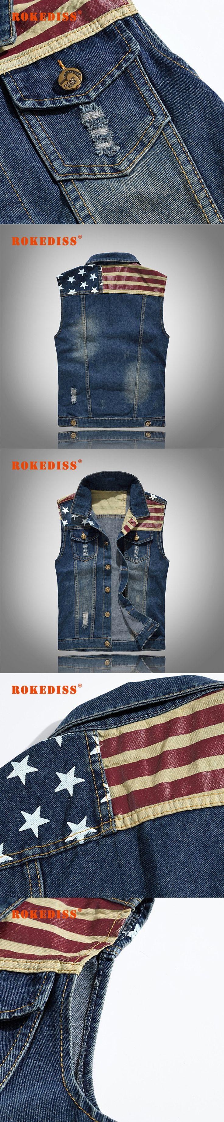 2017 New Ripped Jeans Vest Men America Flag Blue Jean Waistcoat Sleeveless Cowboy Jeans Jacket Men  M-5XL G298