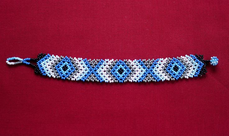 MEXICAN RHOMBUS BEADED BRACELET - GREY & BLUE   ★ Mexican beaded bracelet, with rhombus path in two shades of blue, white, grey, and black. It's simple to wear; it just easily rolls over your hand and is very comfortable. ★ This beaded work is made by Mexican families. ★ You can combine it with various styles!