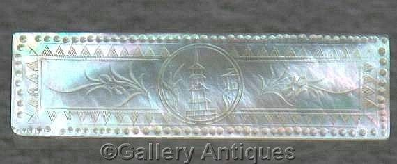 18th Century Antique Chinese Mother of Pearl Oblong Engraved Hand Made Gaming Counter / Thread Winder (ref: 4015)