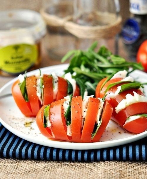 Hasselback Caprese Salad - clever way of serving this starter - would need big toms - beefsteak/plum?