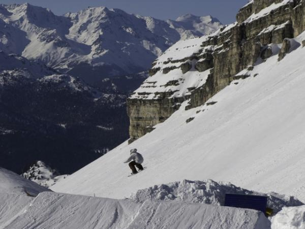 Snowboarding in the Dolomites