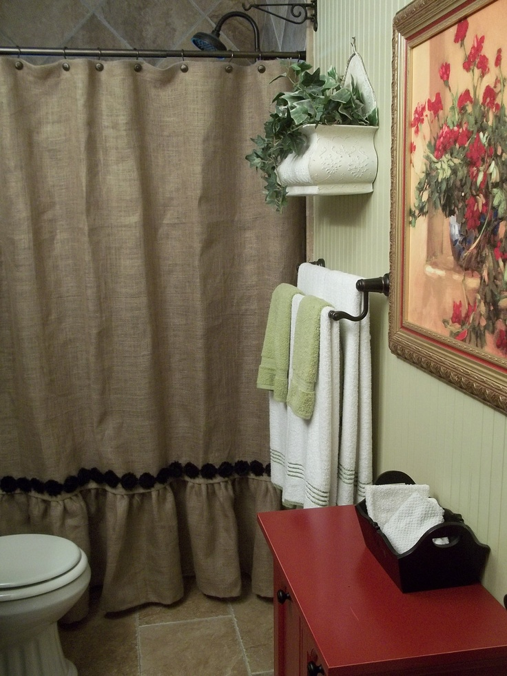 Ruffled Bottom Burlap Shower Curtain with by SimplyFrenchMarket, $77.00