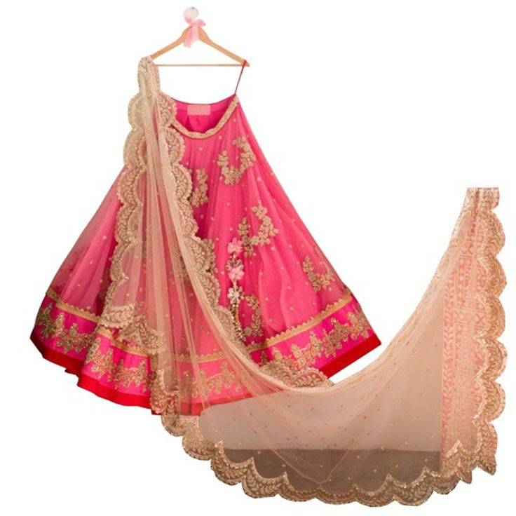 Net+Zari+Work+Pink+Semi+Stitched+Lehenga+-+Asv15 at Rs 1599