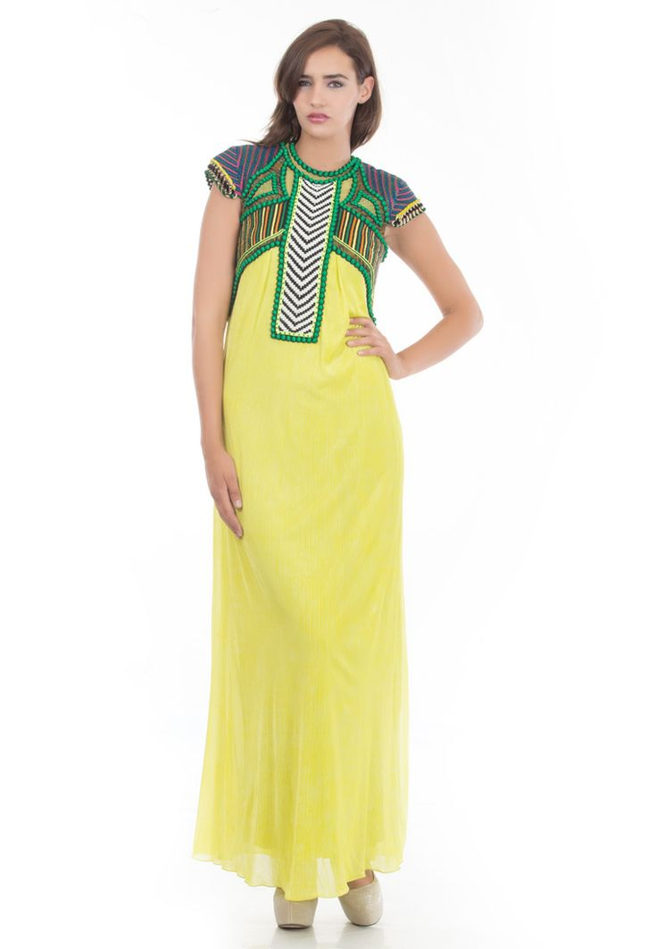 Lime Yellow Jersey Gown -> - Lime yellow jercy Gown - Close Neck - Short Sleeves - Embroidery in 3D Elements made by fabric knotting in black & white right on front - Dry Clean  Order Now : http://www.rinkusobti.com/clothing/lime-yellow-jersey-gown